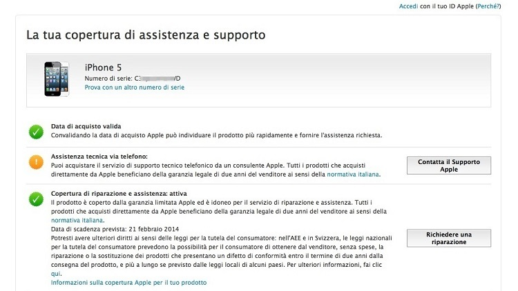 verifica garanzia apple