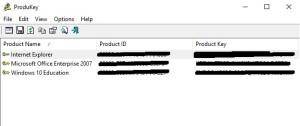 Recuperare product key
