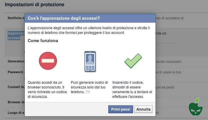 codice di conferma facebook
