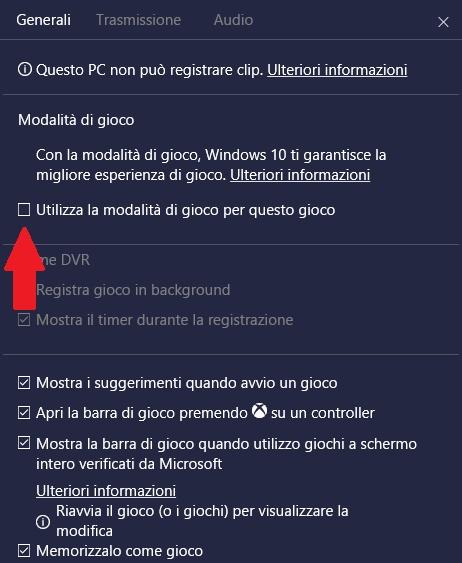 modalità gioco windows