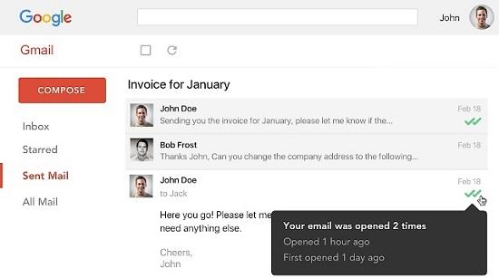 conferma di lettura gmail