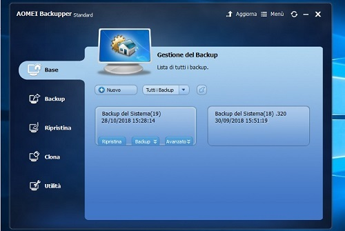 come fare il backup