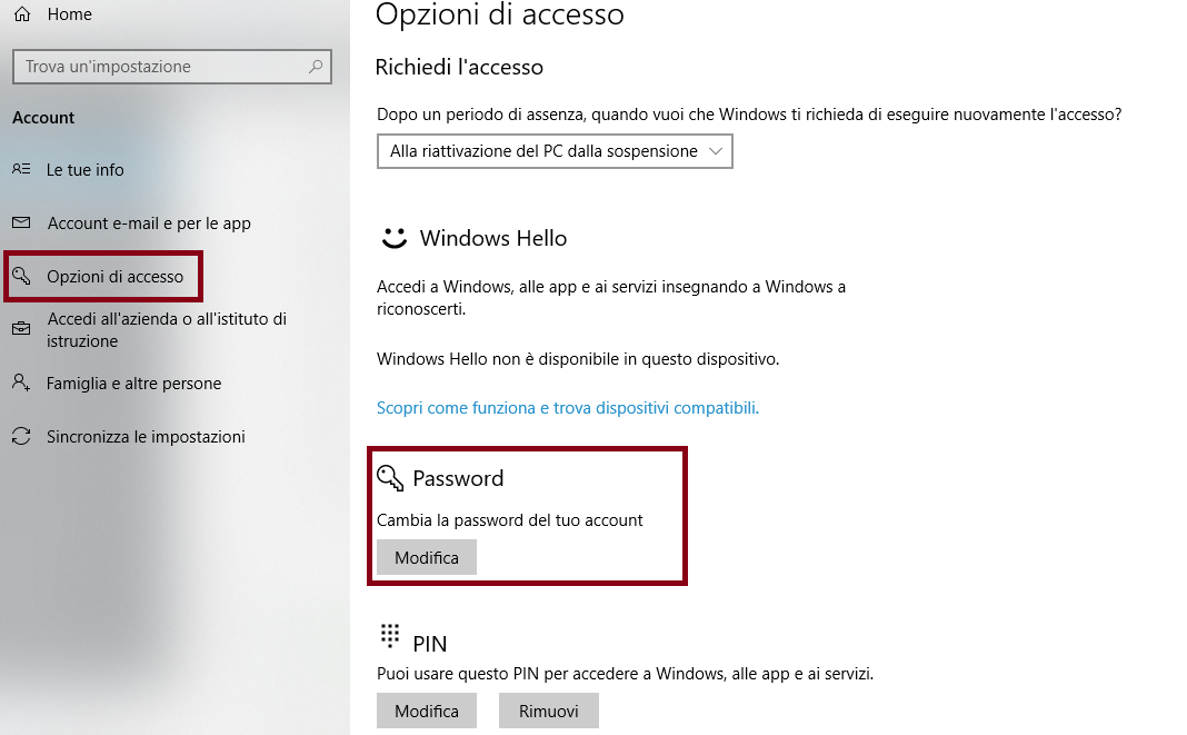 mettere password al pc