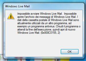 errore apertura live mail