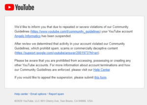 account YouTube bloccato