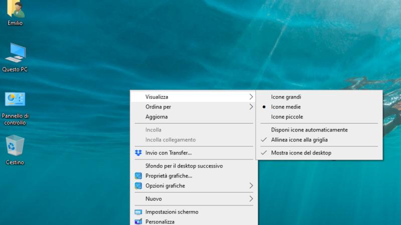 Rimpicciolire icone desktop di Windows 7 e 10