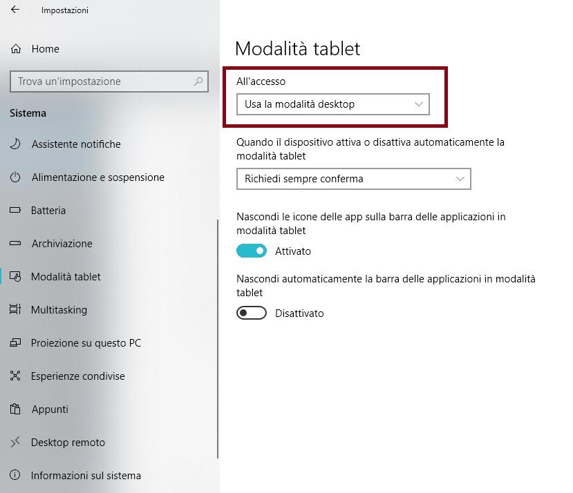 ripristinare desktop