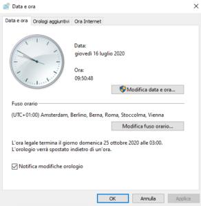 cambiare ora su windows 10